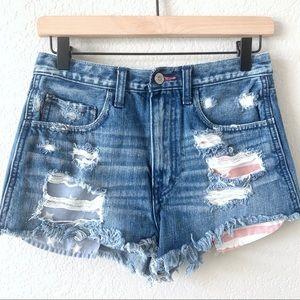 HOLLISTER Distressed Raw High Waist Denim Shorts 3